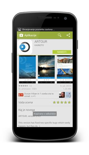 Install ARTOUR mobile tourist guide